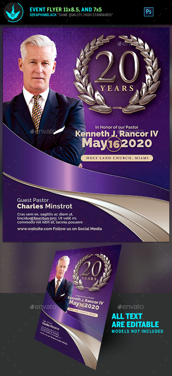 GraphicRiver Lavender Pastor's Anniversary Church Flyer Template 20770666