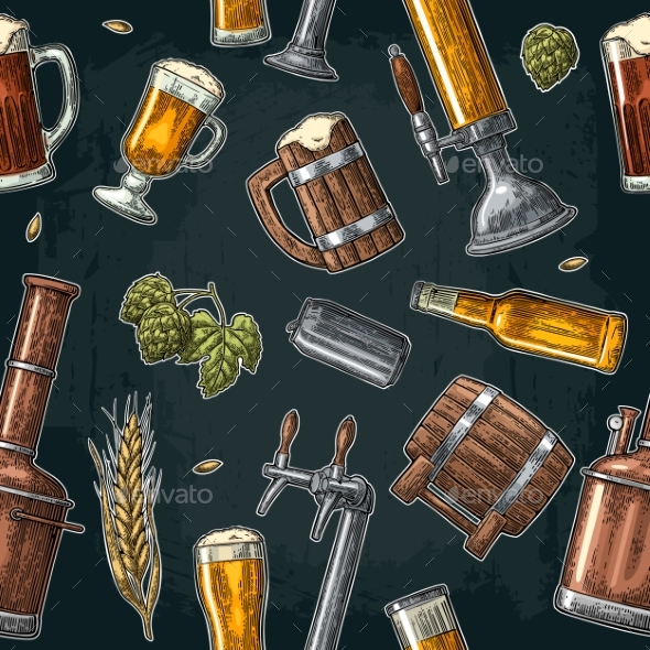 Seamless Beer Pattern - Food Objects