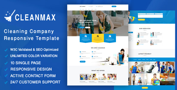 CleanMax- Cleaning Company Responsive Template