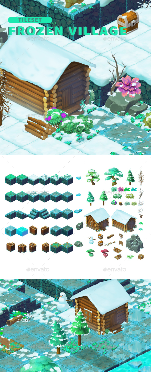 GraphicRiver Frozen Village Isometric Block Tileset 20770975
