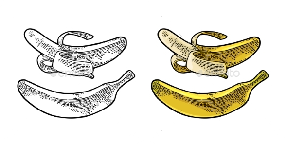 GraphicRiver Whole and Half Peeled Banana 20771311