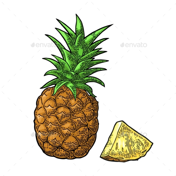 GraphicRiver Whole and Sliced Pineapple 20771330