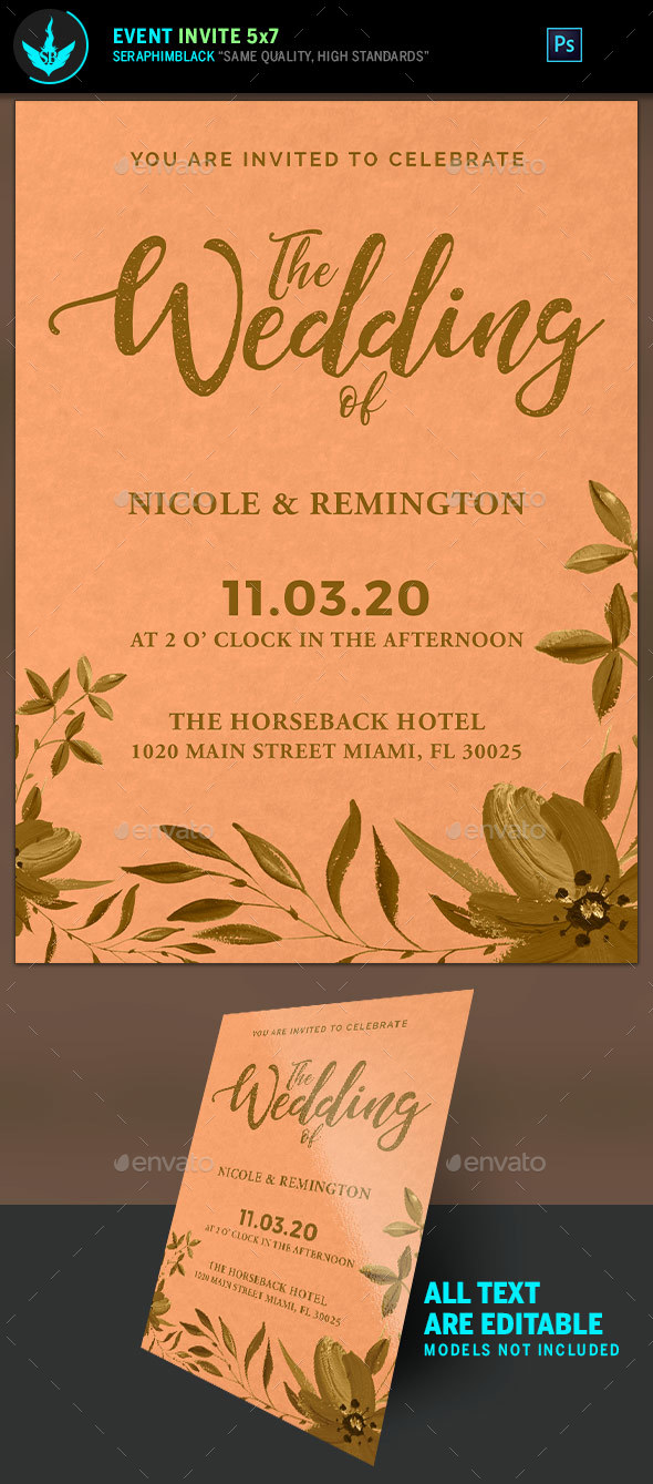 Gold and Peach Wedding Invite Template - Weddings Cards & Invites