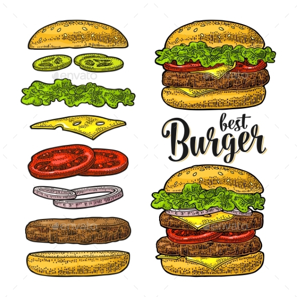 Burger with Flying Ingredients on White Background - Food Objects