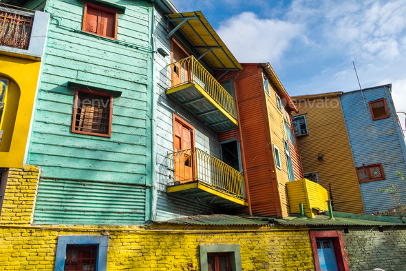 The colorful houses of Caminito Street in La Boca - Stock Photo - Images