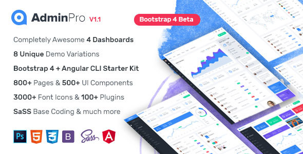 Image of AdminPro - Bootstrap4 Dashboard Template + Angular CLI Starter Kit