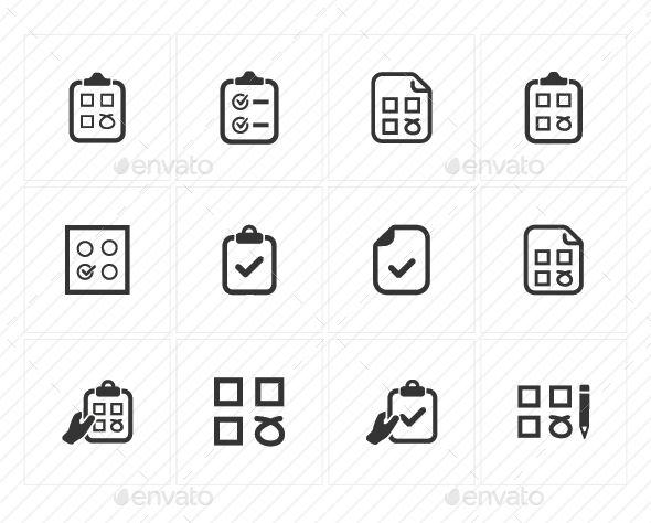 Checklist Icons (Gray Version) - Business Icons