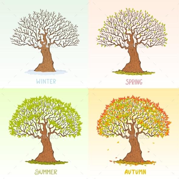 GraphicRiver Tree Seasons 20772158