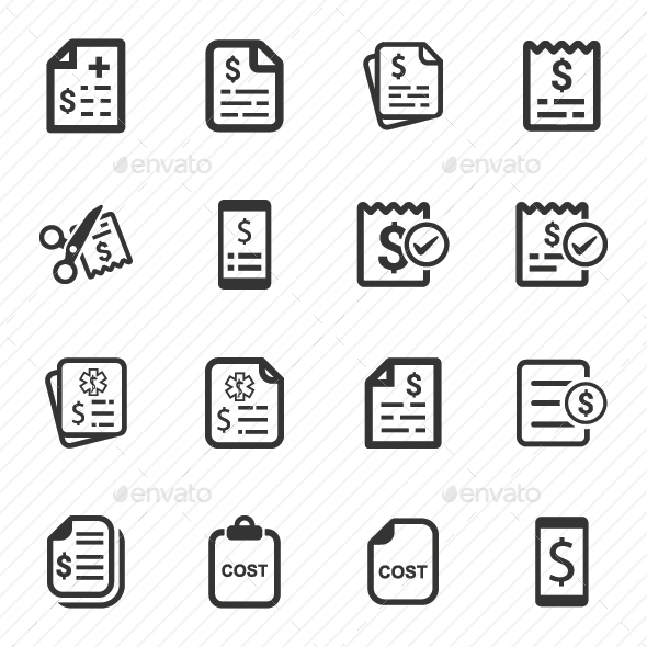 Cost Icons  (Gray Version) - Business Icons