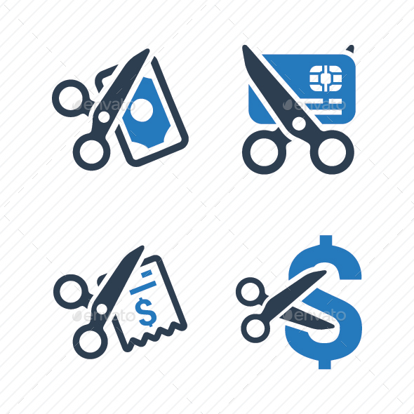 Cost Cutting Icons (Blue Version) - Business Icons