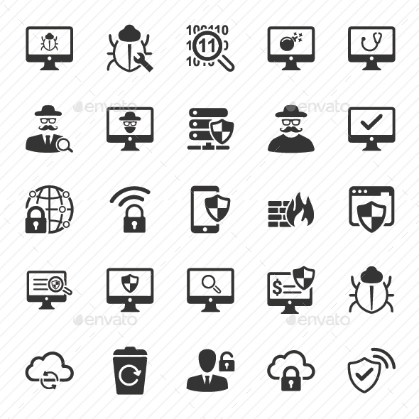 Cyber Security Icons - Gray Version - Technology Icons