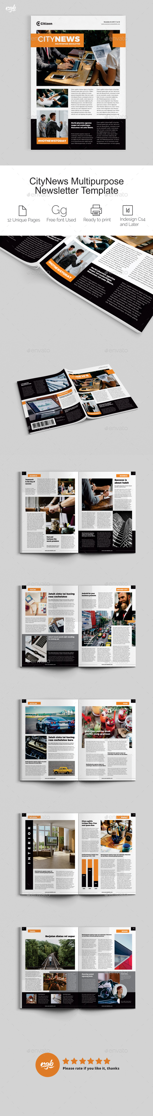 CityNews Multipurpose Newsletter - Newsletters Print Templates