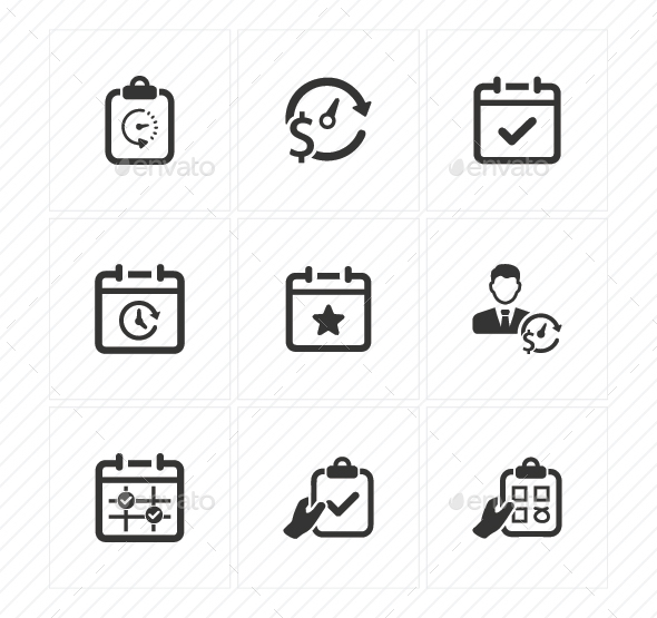 Event Schedule Icons - Gray Version - Business Icons