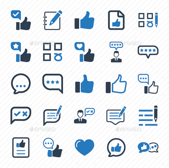Feedback Icons - Blue Version - Business Icons