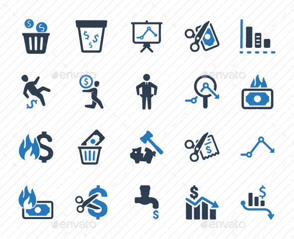 Financial Loss Icons - Blue Version - Business Icons