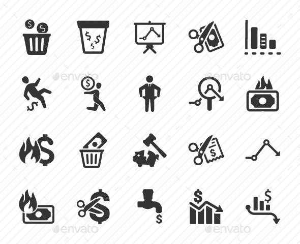 Financial Loss Icons - Gray Version - Business Icons