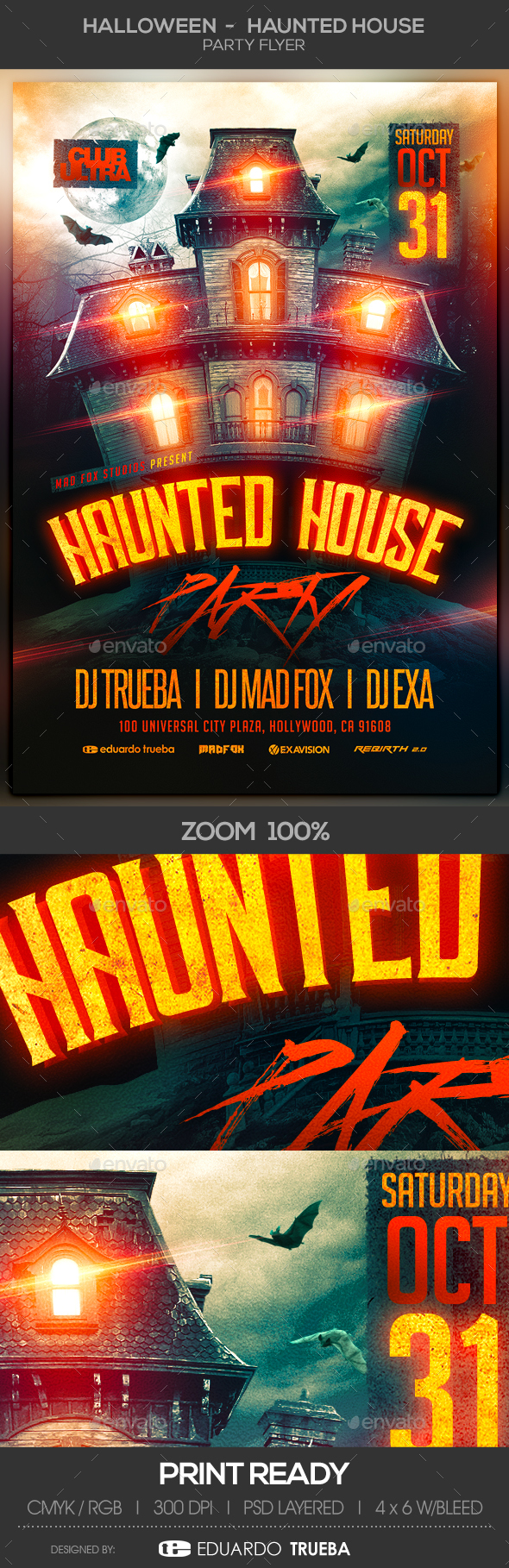 Halloween Haunted House Party Flyer - Clubs & Parties Events