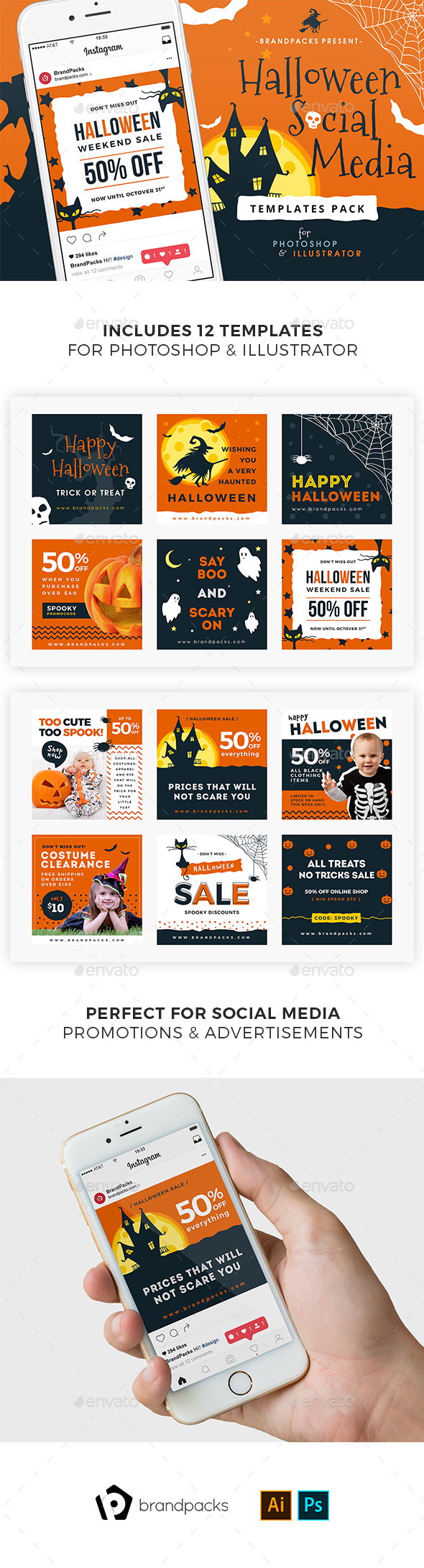 Halloween Social Media Templates - Social Media Web Elements