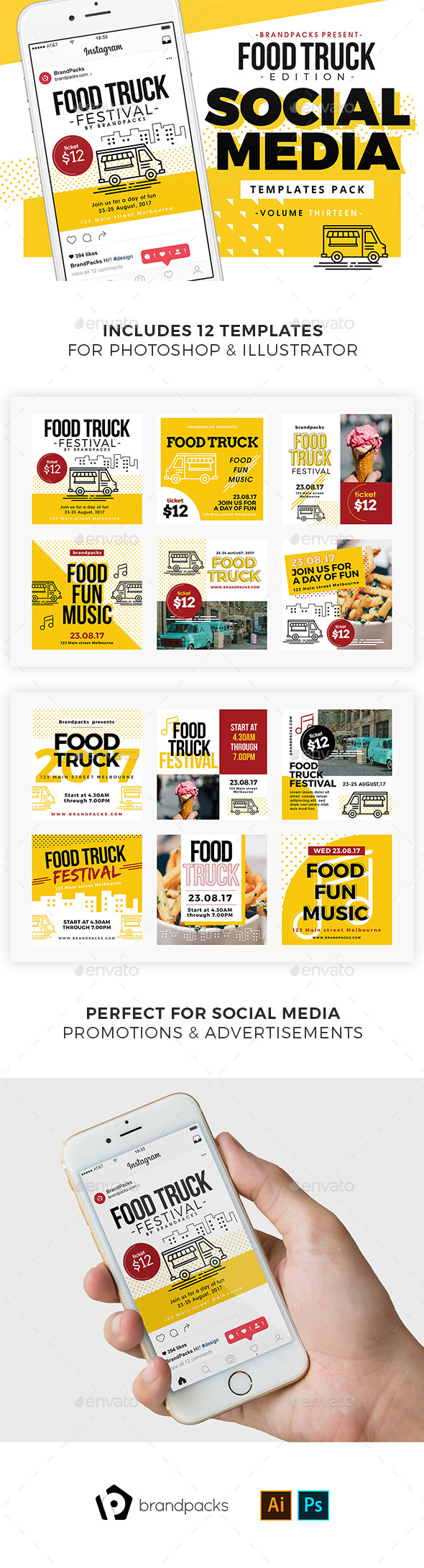 Food Truck Social Media Templates - Social Media Web Elements