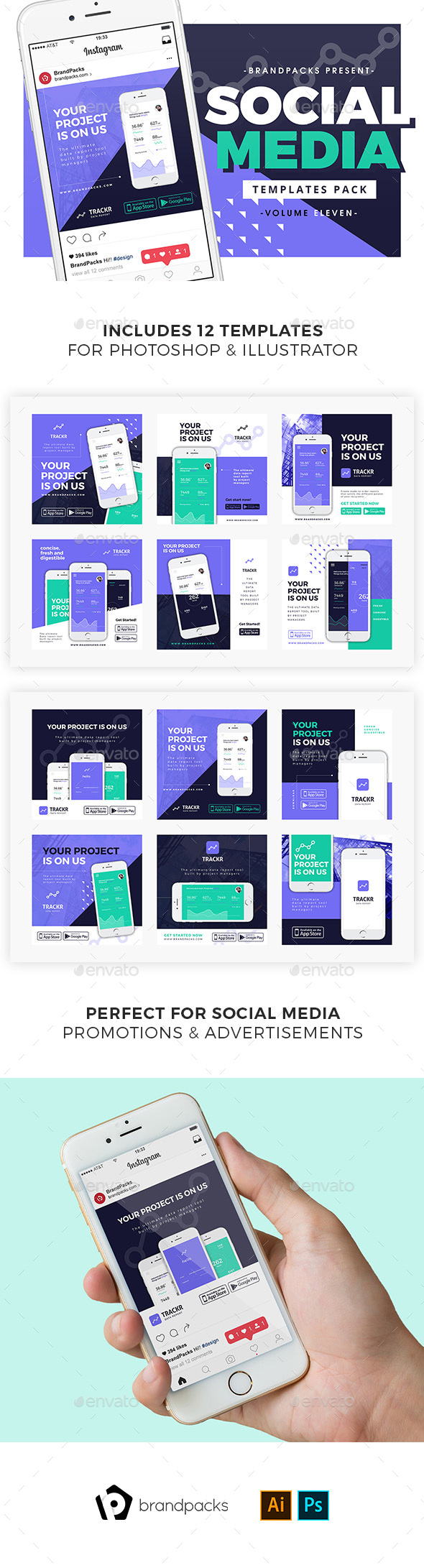 App Promotion Social Media Templates - Social Media Web Elements