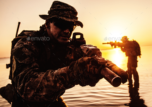 Army soldier silhouette - Stock Photo - Images