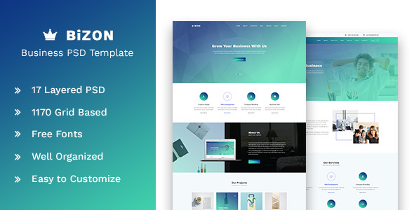Bizon - Business and Agency PSD Template - Corporate PSD Templates