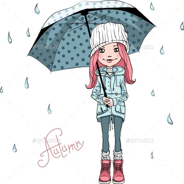 Vector Fashion Girl in Autumn Clothes - Miscellaneous Vectors