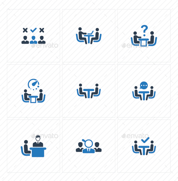 GraphicRiver Job Interview Icons Blue Version 20773149