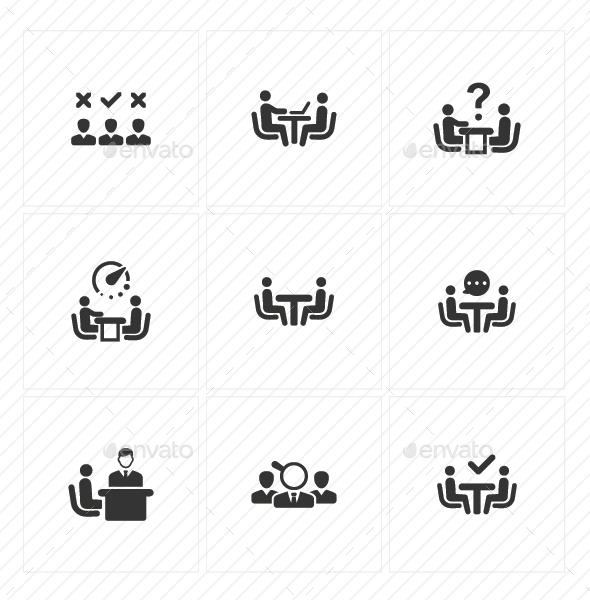 GraphicRiver Job Interview Icons Blue Version 20773158