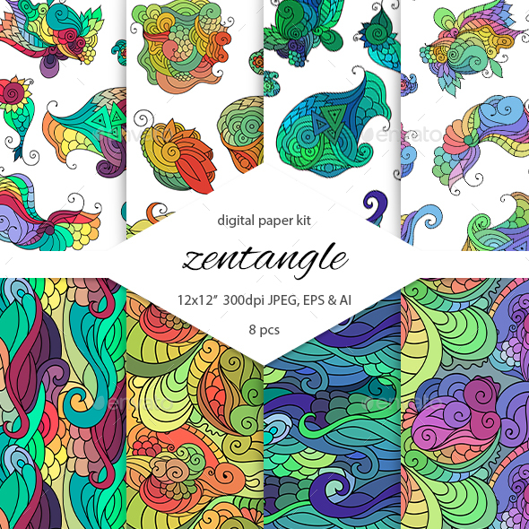 GraphicRiver Zendoodle Digital Paper Pack 20773166