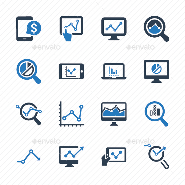 GraphicRiver Marketing Research Icons Blue Version 20773178