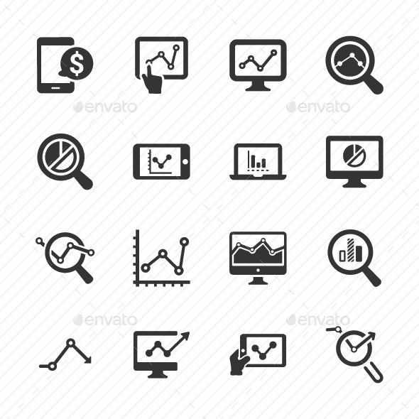 Marketing Research Icons - Gray Version - Business Icons