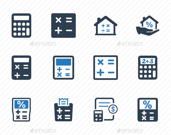 Math & Calculation Icons - Blue Version - Business Icons
