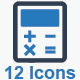 Math & Calculation Icons - Blue Version
