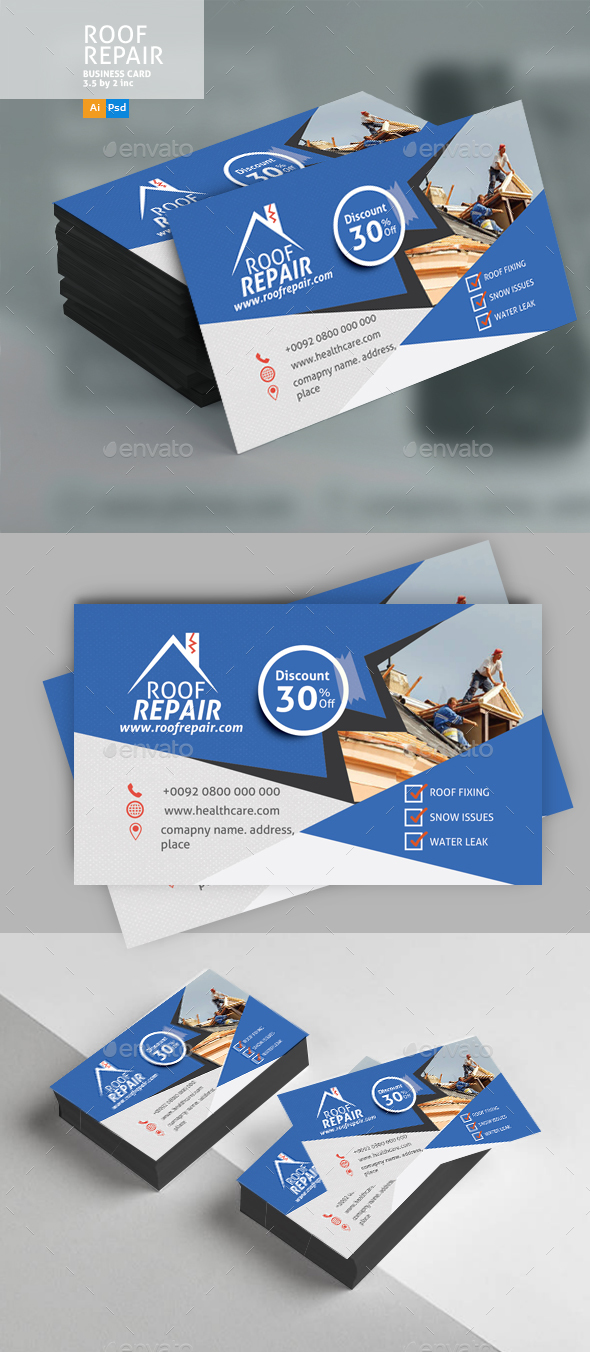 Roof Repair Business Card Design - Business Cards Print Templates