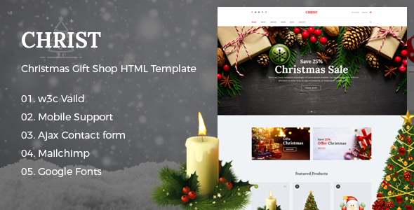 Christ - Christmas Gift Shop eCommerce HTML Template