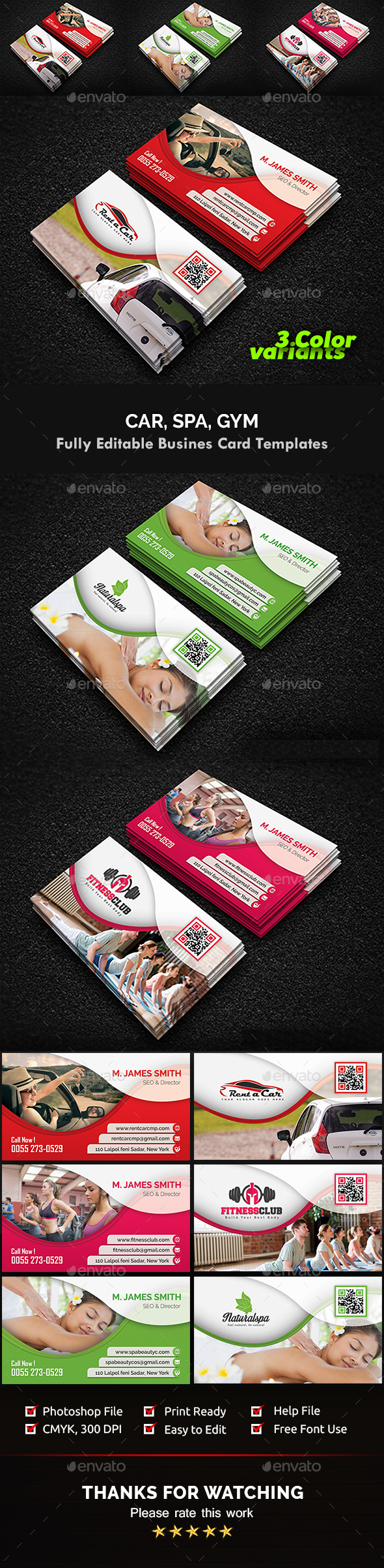 Gym, Spa & Car Business Card Templates by Creative-Touch | GraphicRiver