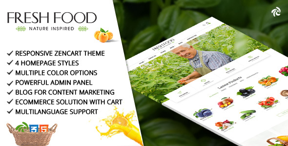 Fresh Food – Zencart Template for Organic Food/Fruit/Vegetables            nulled