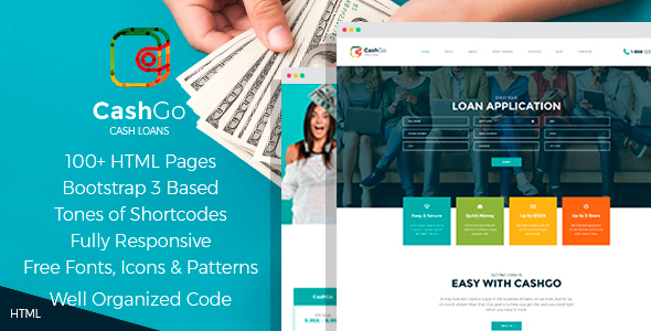 ThemeForest CashGo Fast Loan Financial Company HTML Template with Visual Page Builder 20773954