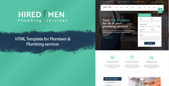 ThemeForest HiredMen Plumber Services Template 20635576