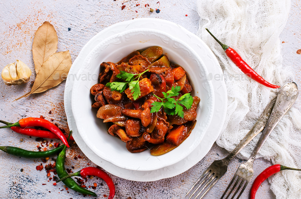 fried mushrooms with vegetables - Stock Photo - Images
