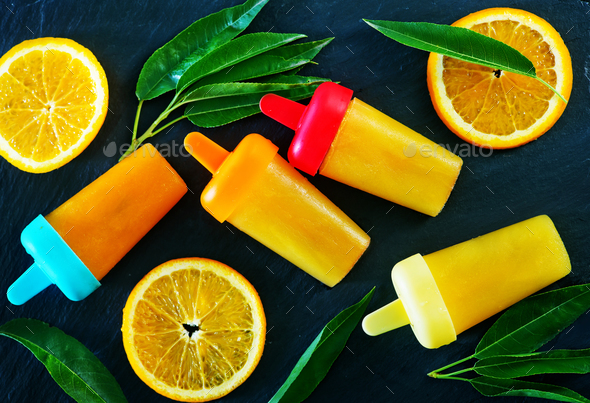 homemade orange icecream - Stock Photo - Images
