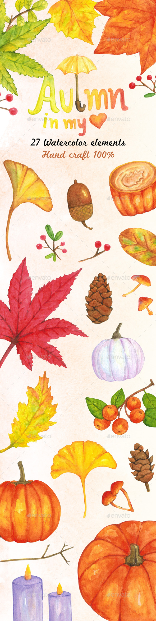 Watercolor Collection of Autumn and Fall Elements - Illustrations Graphics