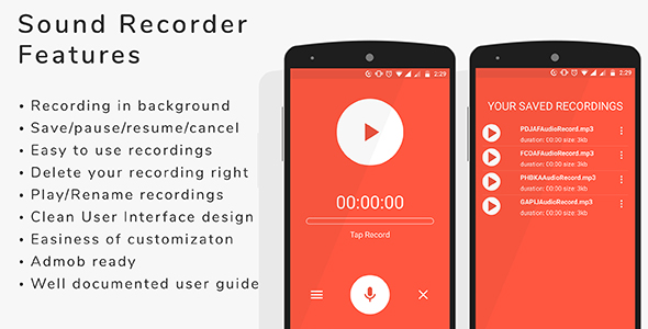Sound Recorder - Android App + admob integration - CodeCanyon Item for Sale