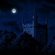 Moon Above Old Church Building - VideoHive Item for Sale