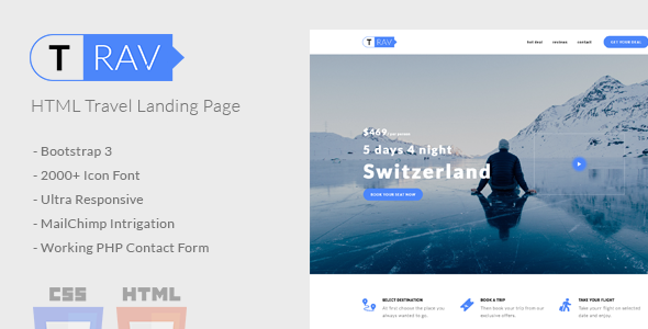 ThemeForest Trav Travel HTML Landing Page 20774925