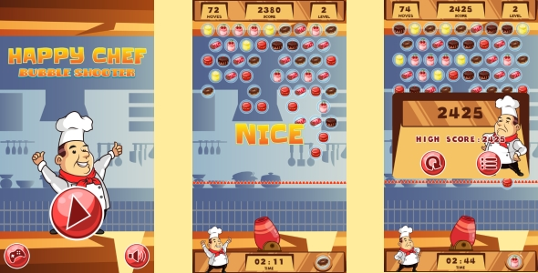 Happy Chef Bubble Shooter - HTML5 Game + Android (Capx) - CodeCanyon Item for Sale