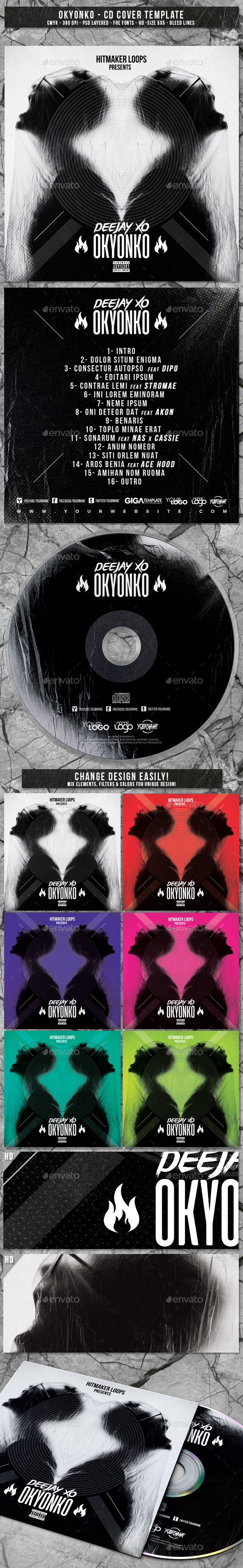 Okyonko | Album CD Mixtape Cover Template - CD & DVD Artwork Print Templates