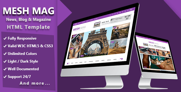 Image of Mesh Mag - Magazine HTML Responsive Template