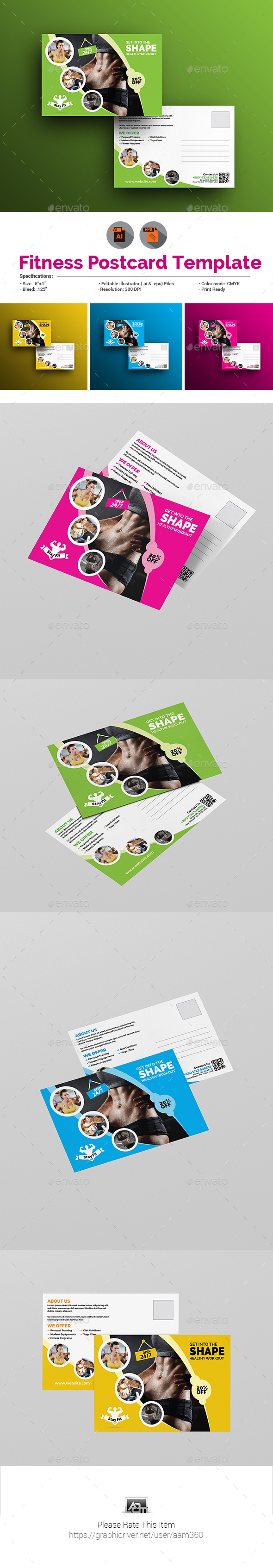 Fitness & Gym Postcard - Cards & Invites Print Templates